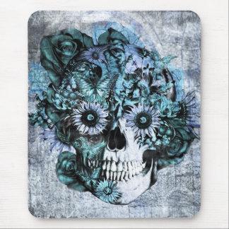 Cráneo azul del ohmio del grunge con los rosas tapete de raton