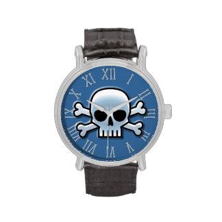 Cráneo azul fresco relojes de pulsera