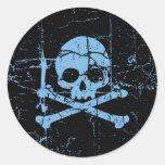 Cráneo azul gastado y bandera pirata pegatinas