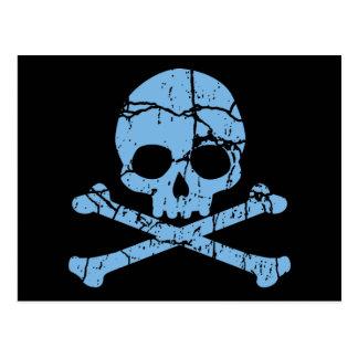 Cráneo azul gastado y bandera pirata tarjetas postales