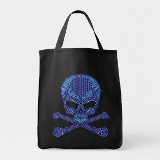 Cráneo azul impreso y bandera pirata del diamante  bolsa tela para la compra