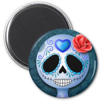 Cráneo azul lindo del azúcar imán redondo 5 cm