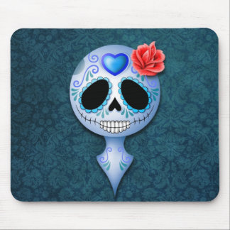Cráneo azul lindo del azúcar tapetes de ratones