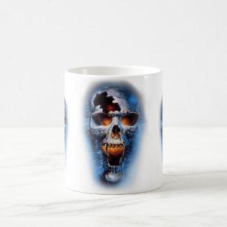 cráneo azul malvado estático del tumblr taza de café