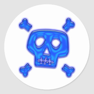 Cráneo azul pegatina redonda