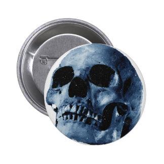 Cráneo azul pin redondo de 2 pulgadas