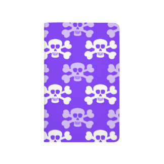 Cráneo azul, púrpura y blanco violeta y huesos cru cuadernos