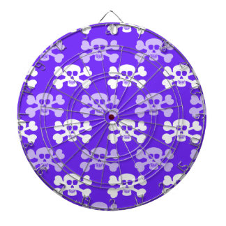 Cráneo azul, púrpura y blanco violeta y huesos cru tablero de dardos