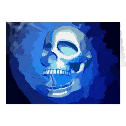 Cráneo azul tarjeta de felicitación