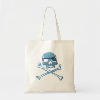 Cráneo azul y bandera pirata del pirata. Bolsos Bolsas