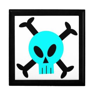 Cráneo azul y bandera pirata Giftbox Cajas De Regalo