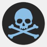 Cráneo azul y bandera pirata pegatina