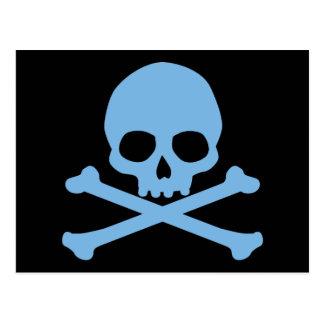 Cráneo azul y bandera pirata tarjeta postal