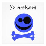 Cráneo azul y Crossbones. Invitacion Personal