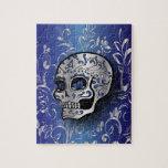 Cráneo azul y de plata del zafiro caprichoso puzzles con fotos
