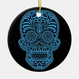 Cráneo azul y negro decorativo del azúcar ornamento de navidad