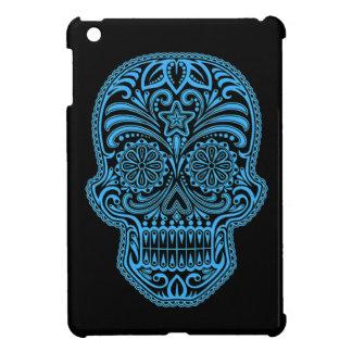 Cráneo azul y negro decorativo del azúcar iPad mini protector