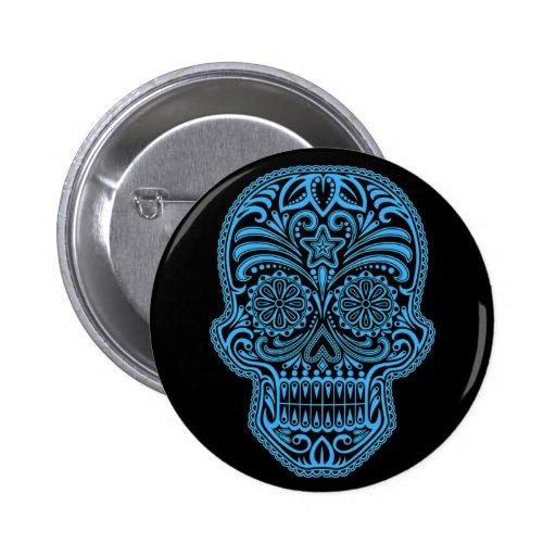 Cráneo azul y negro decorativo del azúcar pin