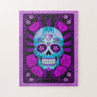 Cráneo azul y púrpura del vintage del azúcar con l puzzle
