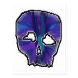 Cráneo azul y púrpura tarjeta postal