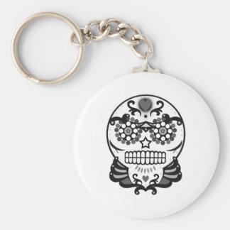 Cráneo B&W del caramelo Llavero Redondo Tipo Pin