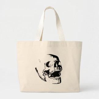 Cráneo blanco negro bolsa de tela grande