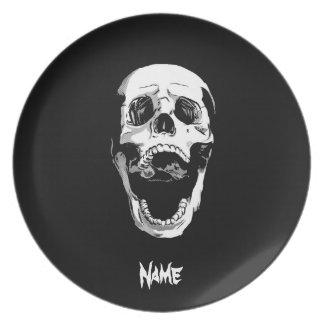 Cráneo blanco negro clásico elegante simple fresco platos