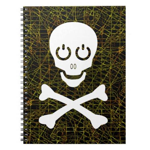 Cráneo blanco y bandera pirata sobre malla de alam libretas