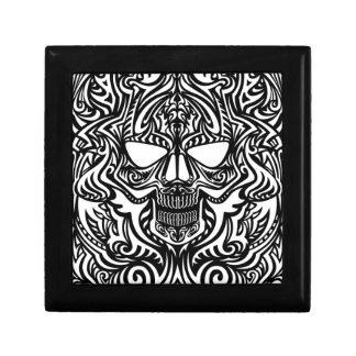 Cráneo blanco y negro caja de joyas