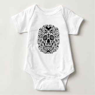 Cráneo blanco y negro del azúcar con los ojos body para bebé