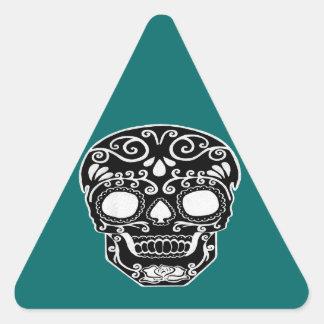 cráneo blanco y negro calcomania triangulo personalizadas