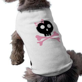 Cráneo bosquejado del caramelo en negro playera sin mangas para perro
