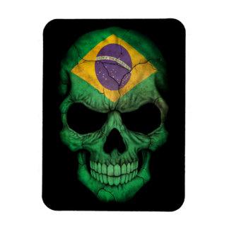 Cráneo brasileño de la bandera en negro imanes rectangulares