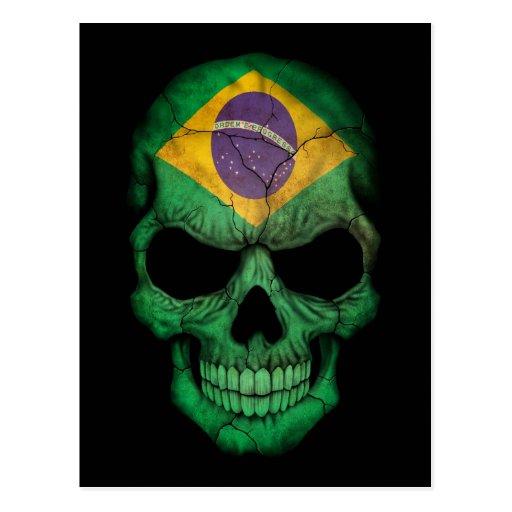 Cráneo brasileño de la bandera en negro tarjetas postales