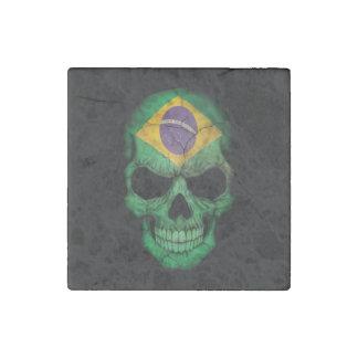 Cráneo brasileño de la bandera imán de piedra