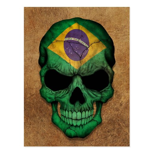 Cráneo brasileño envejecido y llevado de la bander postal