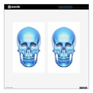 Cráneo brillante azul pegatinas skins para kindle fire