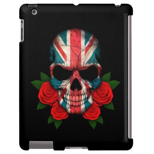 Cráneo británico de la bandera con los rosas rojos funda para iPad