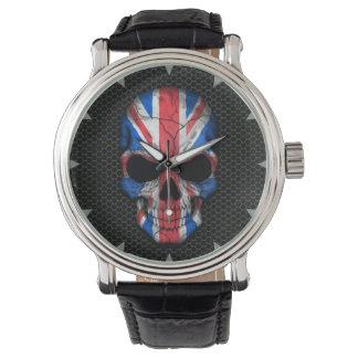Cráneo británico de la bandera en el gráfico de reloj