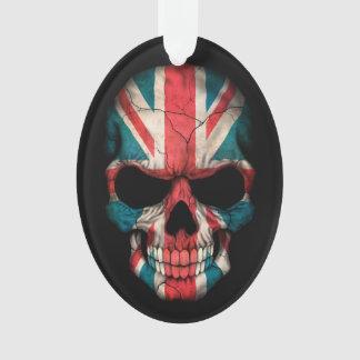 Cráneo británico de la bandera en negro
