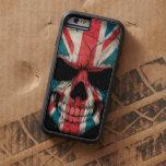Cráneo británico de la bandera en negro funda de iPhone 6 tough xtreme