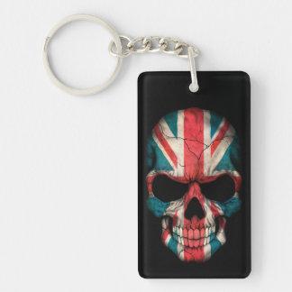 Cráneo británico de la bandera en negro llavero