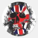 cráneo británico etiquetas redondas