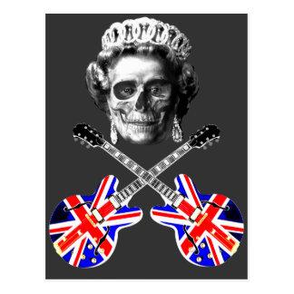 Cráneo británico y bandera pirata de la música del postales