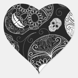 Cráneo BW del azúcar Pegatina Corazón Personalizadas