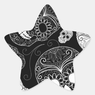 Cráneo BW del azúcar Calcomania Forma De Estrella Personalizada