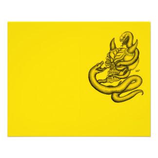 Cráneo - cabeza del diablo con la serpiente tarjeta publicitaria