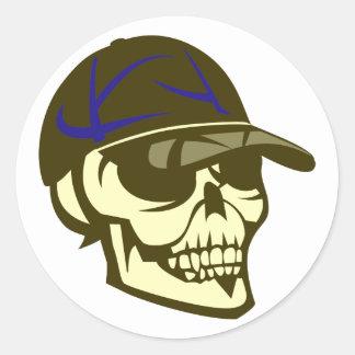 Cráneo calavera gorro skull cap pegatina redonda