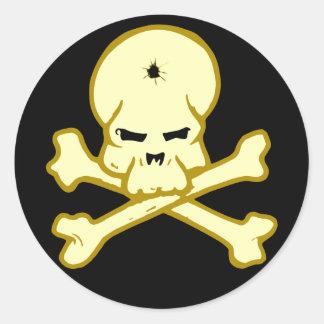 Cráneo calavera skull pegatina redonda