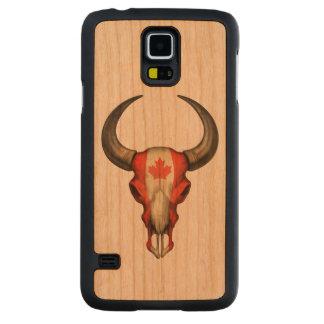 Cráneo canadiense de Bull de la bandera Funda De Galaxy S5 Slim Cerezo
